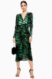 green zebra ruched dress at Topshop