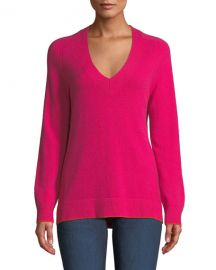 Yorke Cashmere V-Neck Sweater with Mesh Panels at Neiman Marcus