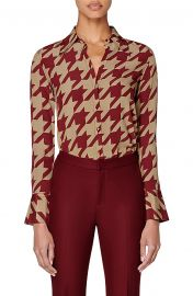Alec Houndstooth Silk Blouse at Nordstrom