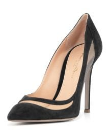 Gianvito Rossi Suede & Tulle Keyhole Pump  at Bergdorf Goodman