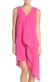 Adrianna Papell Ruffle Front Crepe High Low Dress at Nordstrom