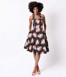 Annabella Halter Swing Dress at Unique Vintage
