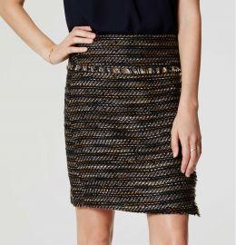 Fringe Tweed Wrap Skirt at Loft