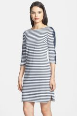Lace Detail Stripe Ponte Knit Shirttail Dress at Nordstrom