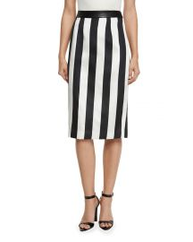 Striped Leather-Trim Pencil Skirt at Neiman Marcus