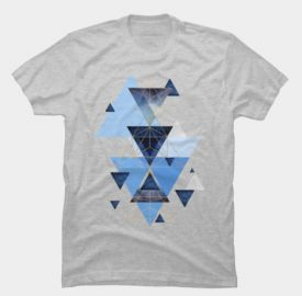 jaggedhues Geometric Triangles in Blue and Rose Gold T-Shirt at Design by Humans