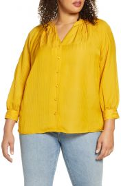 1 STATE Shadow Stripe Button-Up Top  Plus Size    Nordstrom at Nordstrom