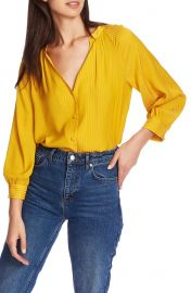 1 STATE Shadow Stripe V-Neck Button Front Blouse   Nordstrom at Nordstrom