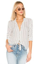 1  STATE Buttondown Tie Front Blouse in White Swan Stripe from Revolve com at Revolve