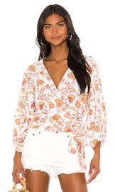 1  STATE Wrap Front Petal Leaf Garden Blouse in Gold Sun from Revolve com at Revolve