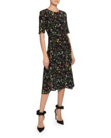 1/2-Sleeve Floral-Print Georgette Midi Dress at Bergdorf Goodman