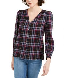 1 STATE Cotton Flannel Plaid V-Neck Top   Reviews - Tops - Women - Macy s at Macys