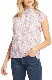 1 STATE Flutter Sleeve Smocked Neck Blouse   Nordstrom at Nordstrom