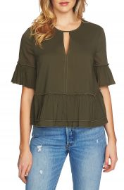 1 STATE Keyhole Peplum Blouse at Nordstrom