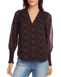 1 STATE Printed Smocked-Sleeve Blouse Women - Bloomingdale s at Bloomingdales