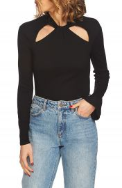 1 STATE Twist Neck Cutout Detail Rib Knit Top at Nordstrom
