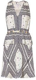 10 Crosby by Derek Lam Grommet Detail V Neck Print Dress at Intermix