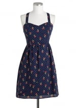 Navy blue cherry print dress at Delias