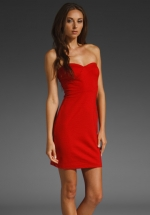 Red strapless dress like on Smash at Revolve