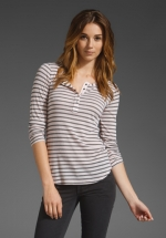 Striped tee with button top at Revolve