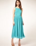 Cute turquoise polka dot midi dress at Asos