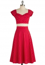 Red midi dress at Modcloth