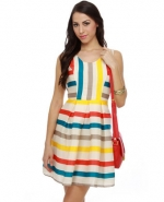 Rainbow striped dress at Lulus