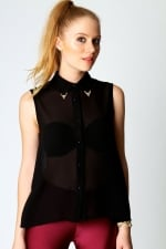 Black sleeveless blouse with capped collar at Boohoo