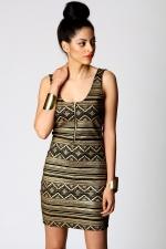 Aztec printed bodycon dress at Boohoo