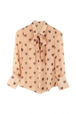 Apricot coloured pussybow blouse at Romwe