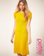 Yellow short sleeve midi dress at Asos