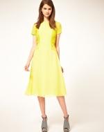 Yellow midi length tea dress at Asos