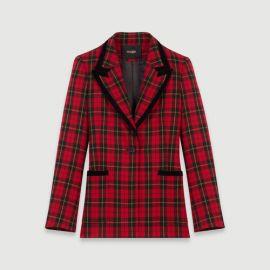 119VANTY Velvet piped plaid jacket at Maje