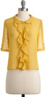 Yellow ruffle top like Lemons at Modcloth