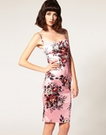 Floral satin dress at Asos