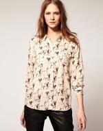 Long sleeve horse print blouse at Asos