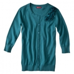 Teal cardigan with flowers at Target