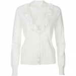 White cardigan with ruffle details at Amazon