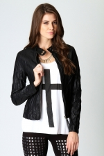 Black biker jacket at Boohoo