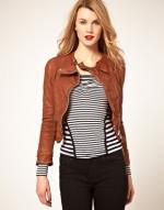 Karen Millen tan leather jacket at Asos
