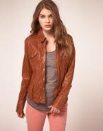 Tan leather jacket like Brittas at Asos