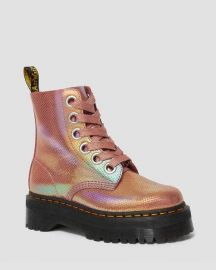 1651 Molly Iridescent Leather Platform Pink Boots by Doc Martens at Dr Martens