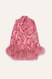 16ARLINGTON - Michelle feather-trimmed printed crepe de chine mini dress at Net A Porter
