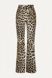 16ARLINGTON - Newman leopard-print calf hair flared pants at Net A Porter