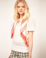 Cream and coral scarf by Chloe at Asos