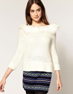 White sweater with fur collar at Asos