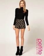 Black lace shorts at Asos