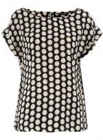 Black polka dot blouse at Dorothy Perkins