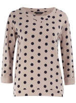 Grey polka dot long sleeve top at Dorothy Perkins