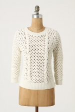 White knit sweater at Anthropologie